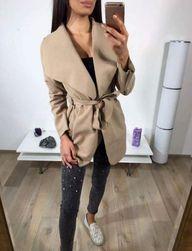 Krátký flaušový kabát - béžový
