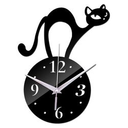 Настенные часы акриловые с горбатой кошкой - 3 цвета