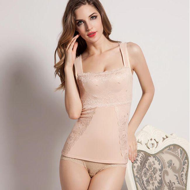 Sexy tílko na spaní s krajkovým vzorem - Béžová-5 1