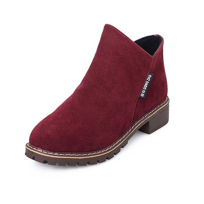 Dámské semišové boty - Červená-35 1