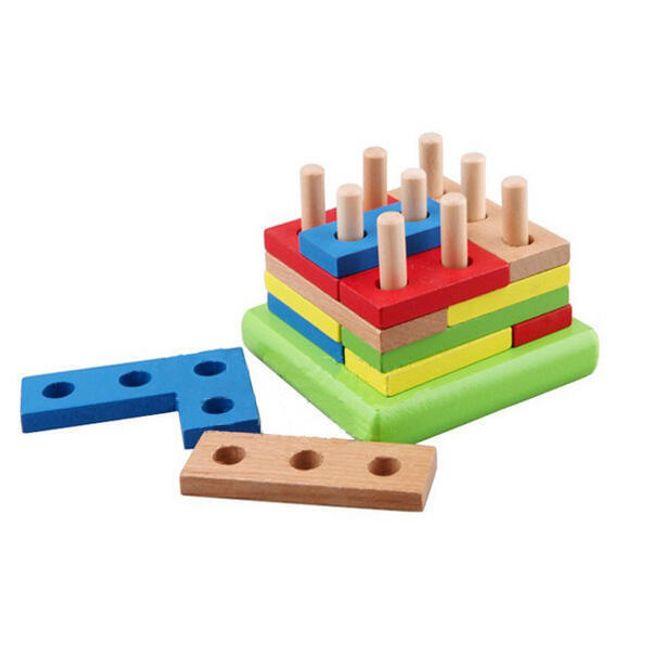 Dětská dřevěná hračka - geometrické bloky 1
