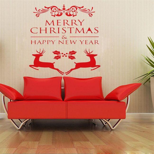 Karácsonyi matrica rénszarvas és betűkkel 1