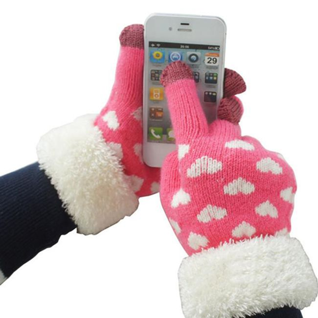 Damskie rękawiczki z kożuszkiem 1
