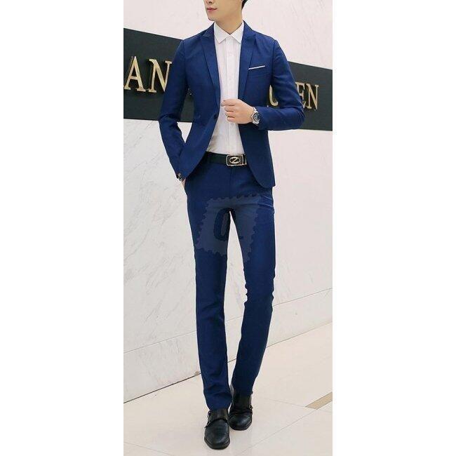 Pánský společenský oblek - sapphire Modrá-velikost č. 4 1
