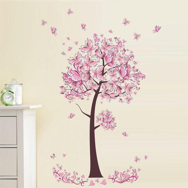 Cvetoče roza drevo - stenska nalepka 1