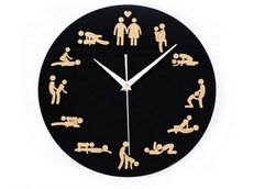 Nástěnné hodiny se sexuálními polohami - 2 barvy