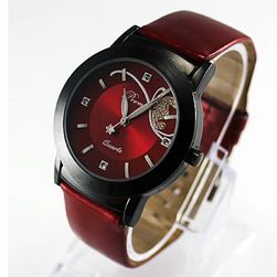 Dámské hodinky se zajímavým motivem motýla - červená
