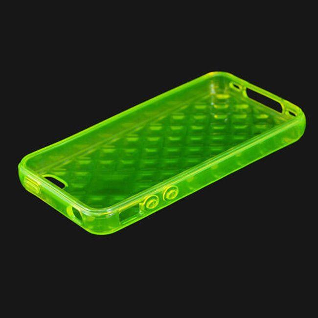 Průhledné ochranné pouzdro pro iPhone 4 a 4S - žlutozelené designové 1