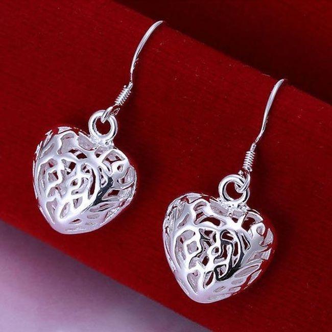 Kolczyki w kształcie serduszek - srebrne 1