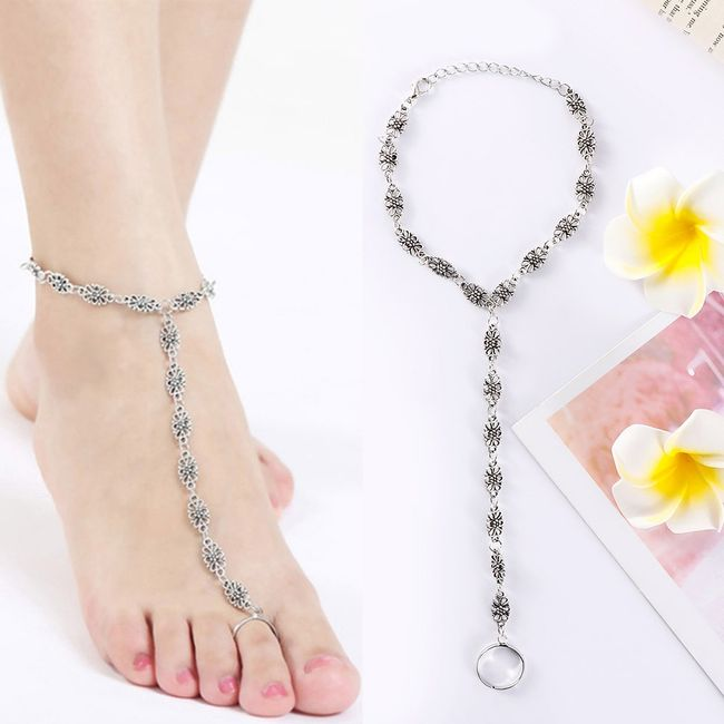 Bransoletka na nogę z pierścionkiem NNP01 1