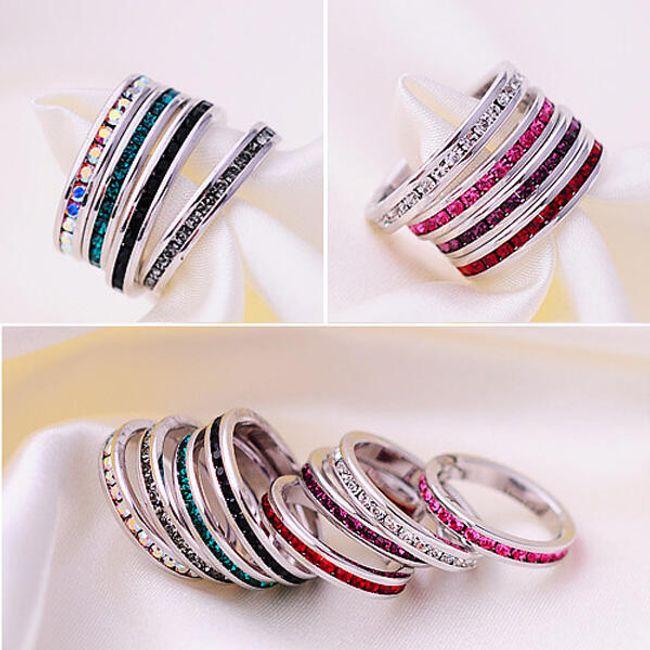 Prstýnek s barevnými kamínky po obvodu - na výběr z 22 barev 1