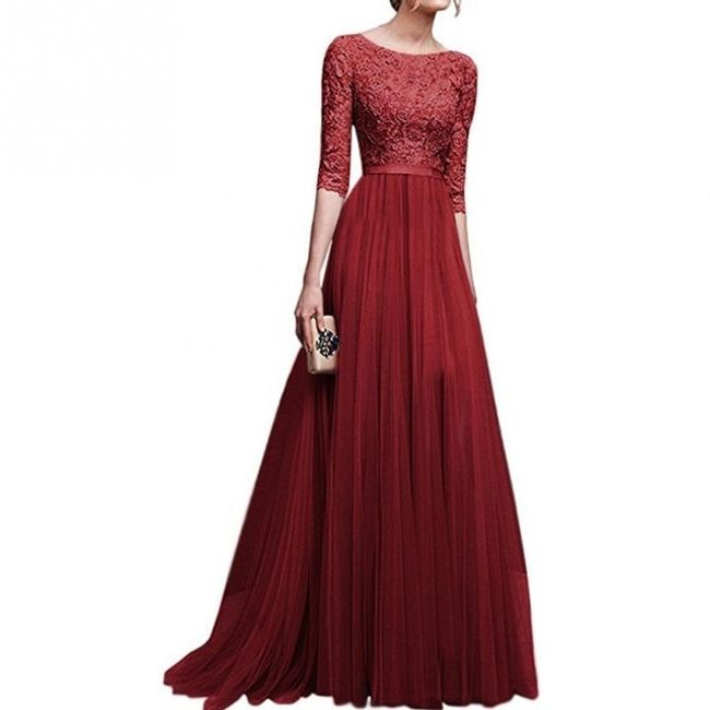 Длинное вечернее платье с рукавом три четверти - 8 расцветок 1