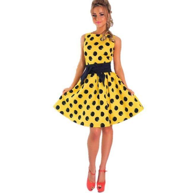 Retro puntíkované šaty pro dámy - žlutá - S 1