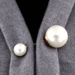 Brož se dvěma perličkami - 2 barvy
