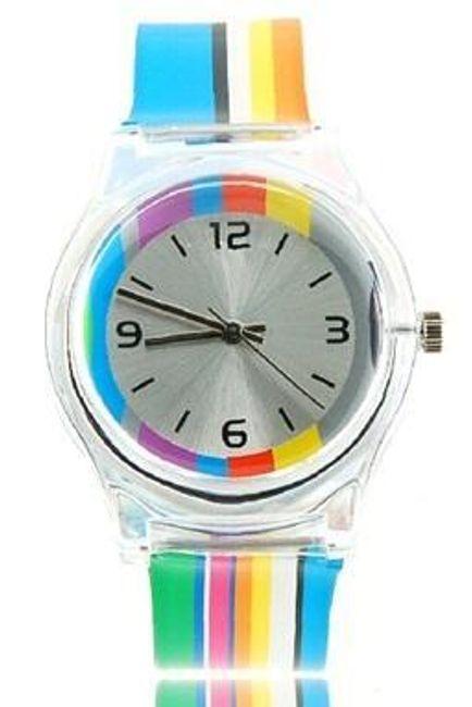 Dámské barevné pruhované hodinky 1
