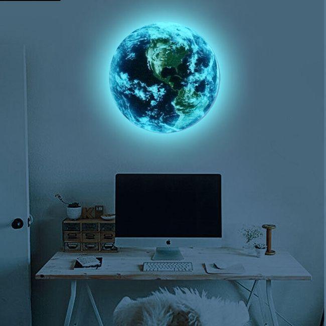 3D Samolepka Země svítící v noci 1