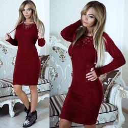 Ženska pletena obleka z dolgimi rokavi - 4 variante Rdeča-velikost št. 3