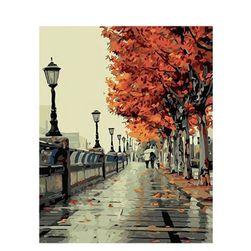 DIY kép őszi táj - festés számokkal