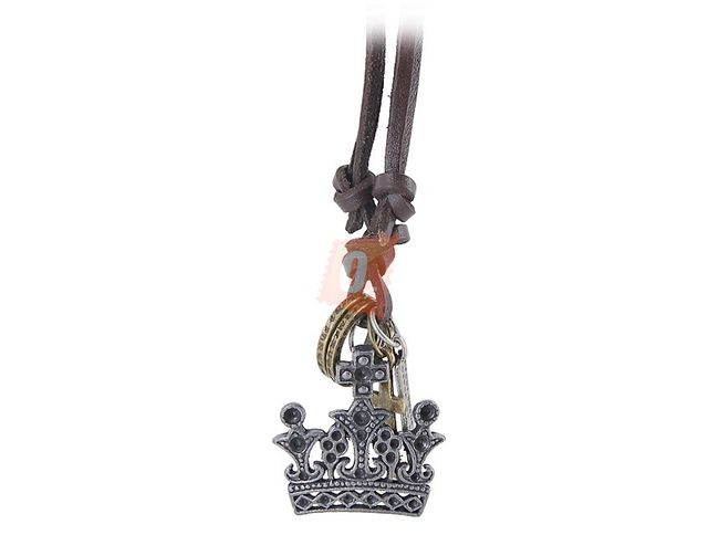 Kožený náhrdelník s korunkou 1