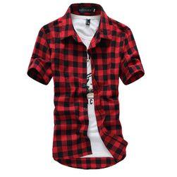 Рубашка мужская в клетку с короткими рукавами - 4 цвета