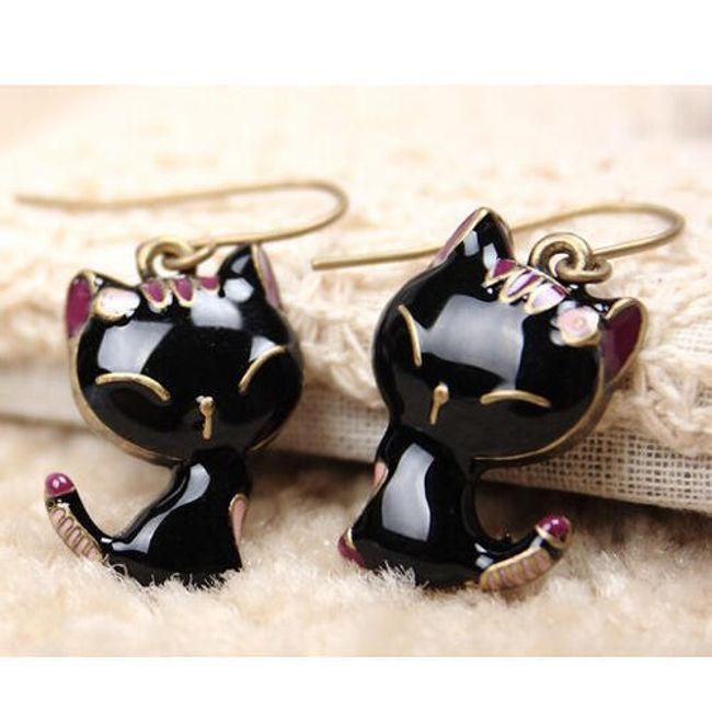 Серьги в форме кошек- черный цвет 1