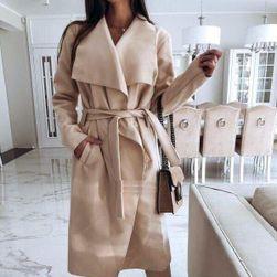 Dámský flaušový kabát - béžový
