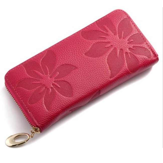 Dlouhá peněženka s květinovým reliéfem - různé barvy 1