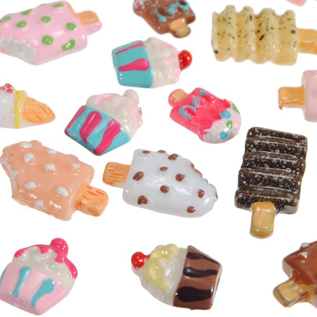Nalepovací dekorace na nehty v podobě cukrovinek 100 ks  - různé motivy 1