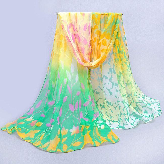 Női sál szivárvány levél motívumokkal - 7 szín