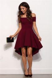 Rochie elegantă cu umerii lăsați - 3 culori Rosu - mărimea 2