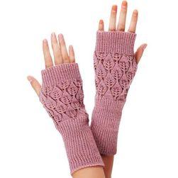 Pletené návleky na ruce s lístečky  - různé barvy