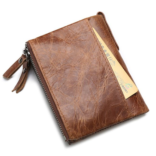 Férfi barna pénztárca cipzárral