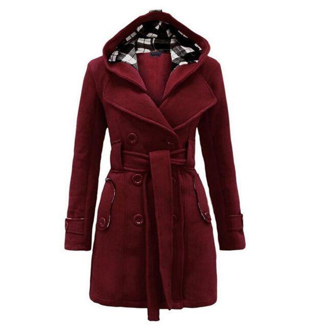 Dámská kabátová mikina Silvia s kapucí a páskem - 6-velikost č. S 1