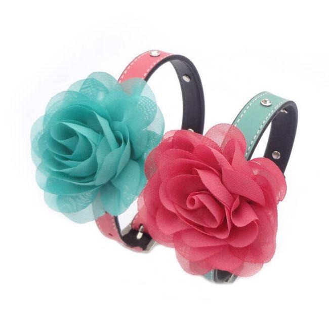 Psí obojek s textilní květinou - ve 2 barevných kombinacích 1