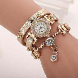 Dámské vícevrstvé hodinky s kamínky - béžová