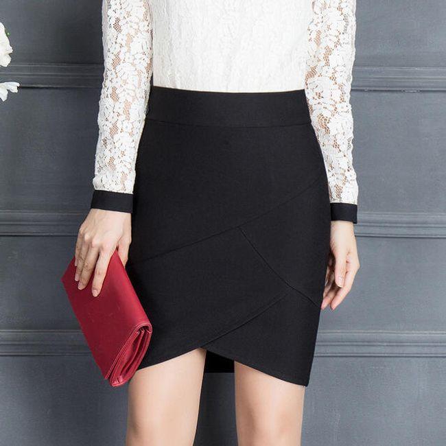 Pouzdrová sukně s vysokým pasem - Černá-velikost č. 5 1