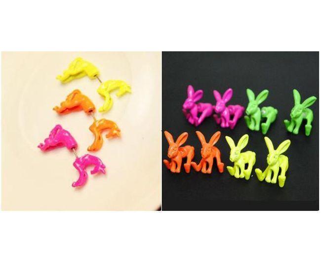 Stylové náušnice ve tvaru koně nebo zajíce - 1ks 1