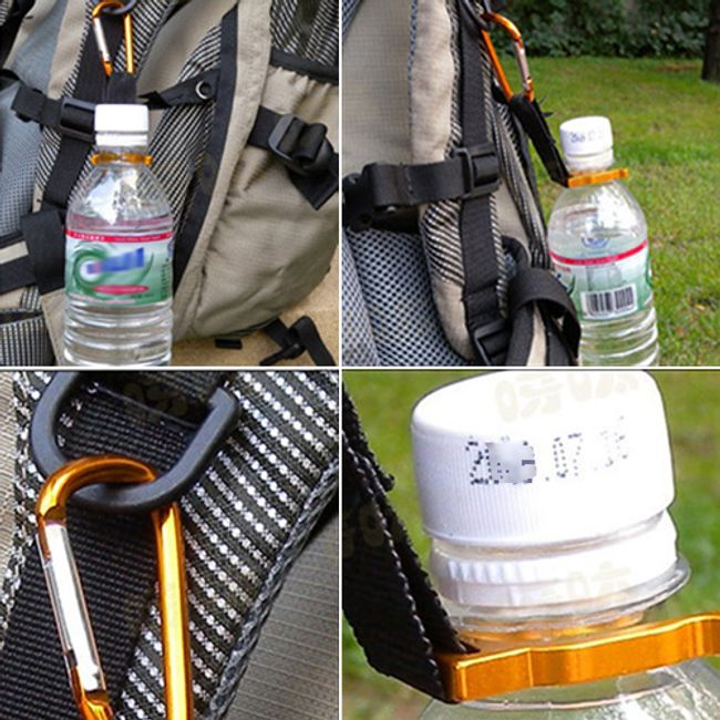 Aluminiowy uchwyt na butelkę z karabinkiem i kompasem - 2 sztuki 1