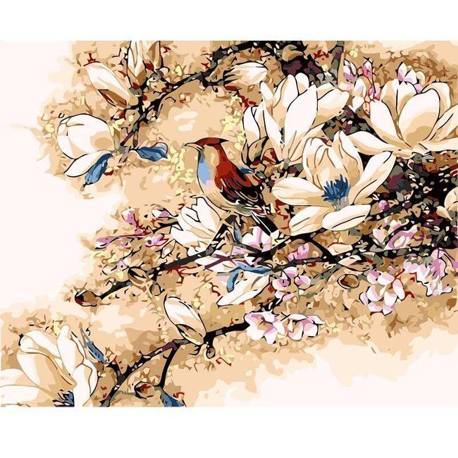 Malování podle čísel - pták na rozkvetlém stromě 1