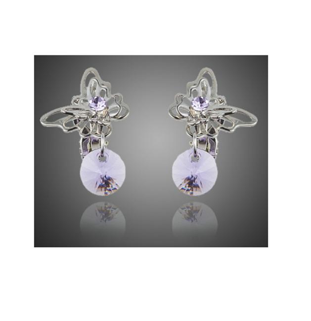 Náušnice s motýlky a fialovými kamínky 1