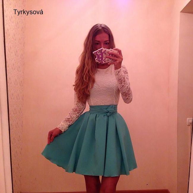 Šaty s áčkovou sukní - tyrkysová, velikost 3 1