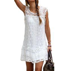 Filigranowa sukienka letnia z koronką i frędzelkami - 2 kolory