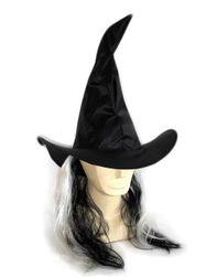 Klobouk čarodějnický s vlasy pro dospělé RZ_763319