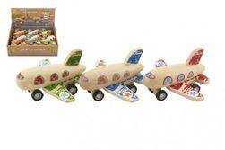 Lietadlo drevené 10x9cm na spätné natiahnutie 3 farby 12ks v boxe 18m + RM_00821119