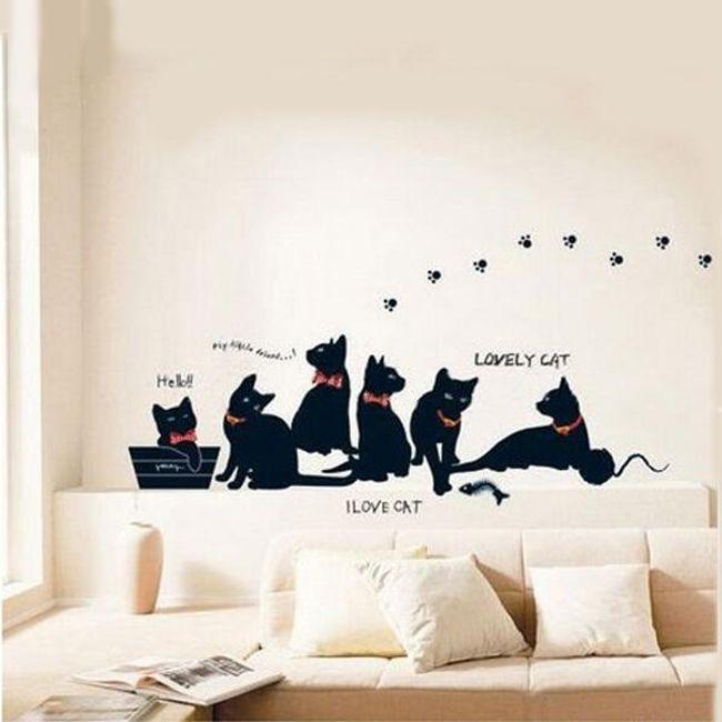 Stenska nalepka - družina mačk 1