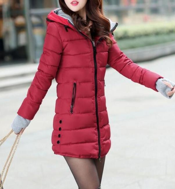 Prošívaná zimní bunda Pia - Tmavě červená - velikost č. M 1