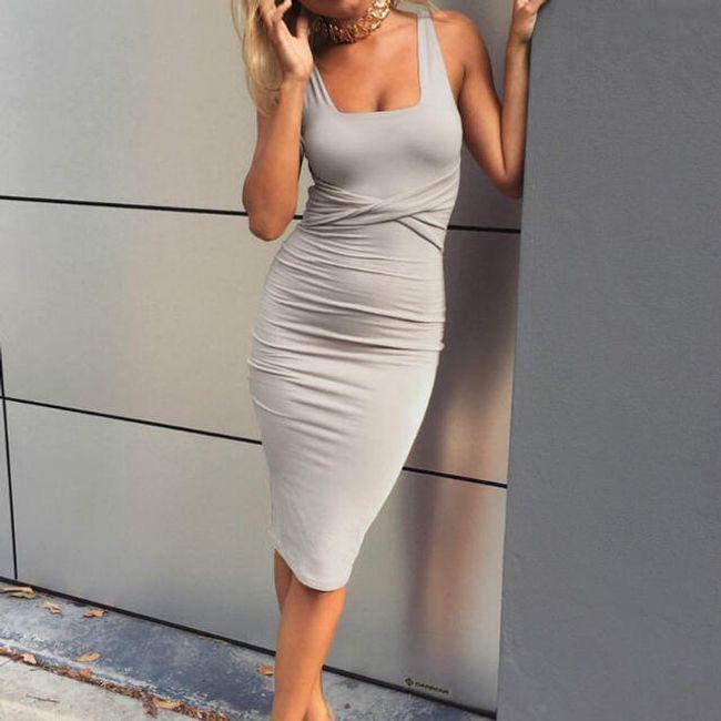 Dámské pouzdrové šaty Julie - Šedá-M 1