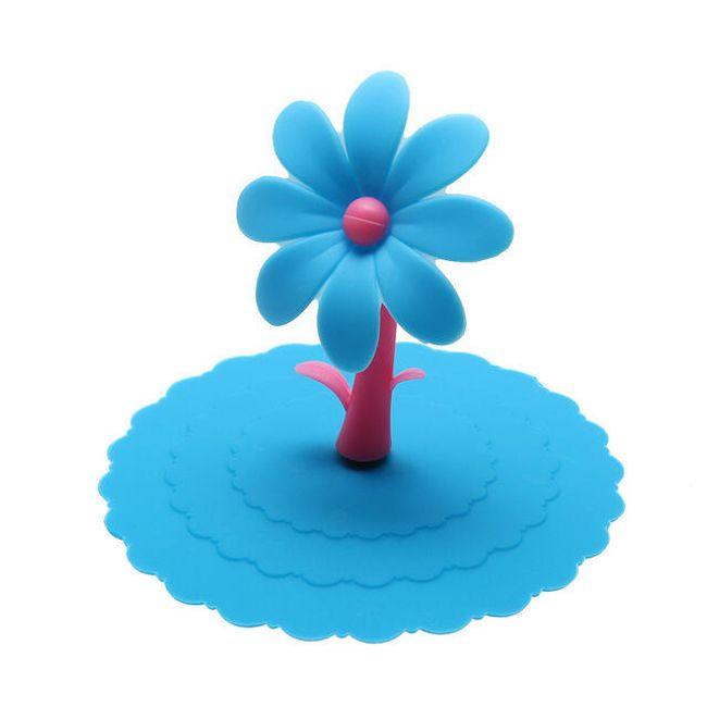 Silikonová poklička s kytičkou na hrneček - různé barvy 1