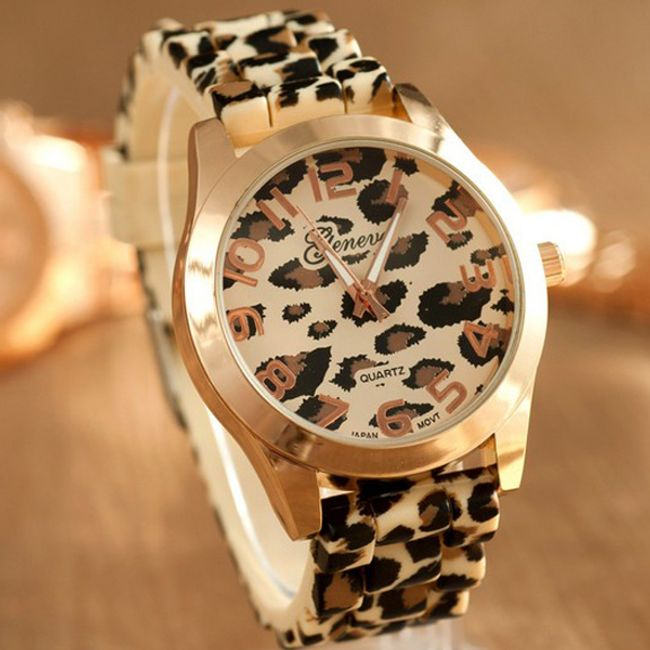 Ženski sat GENEVA sa leopard uzorkom 1
