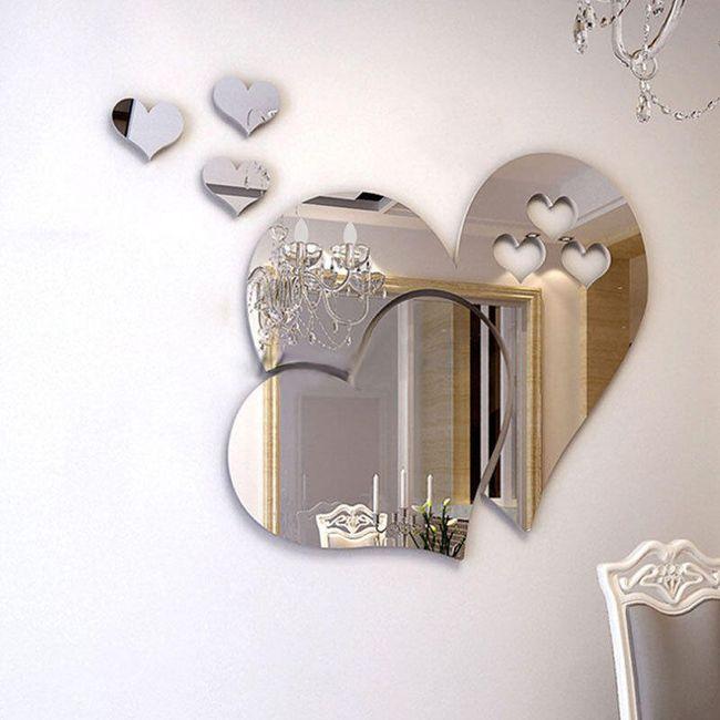 Samolepicí zrcadlo ve tvaru srdíček 1
